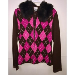 Berek Argyle Cardigan Sweater, Medium, Fur